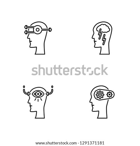 Linear Thinking, Perception, Brainstorm, Brain Vector Illustration Of 4 outline Icons. Editable Pack Of Thinking, Perception, Brainstorm, Brain