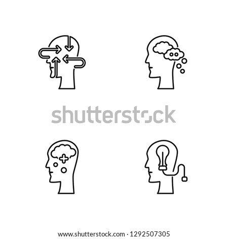 Linear Thinking, Thinking, Thinking, Thinking Vector Illustration Of 4 outline Icons.