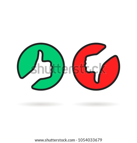 linear thumbs up and down round logo. flat modern simple satisfaction survey logotype graphic art design isolated on white background. concept of set of user interface like lose, hate or love for vote