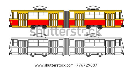 linear tram on white background