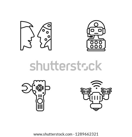 Linear Turing test, Robot, Robot, Drone Vector Illustration Of 4 outline Icons. Editable Pack Of Turing test, Robot, Robot, Drone