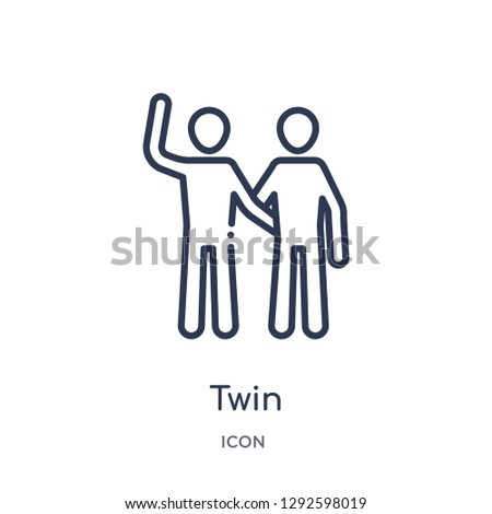 Linear twin icon from Family relations outline collection. Thin line twin icon vector isolated on white background. twin trendy illustration