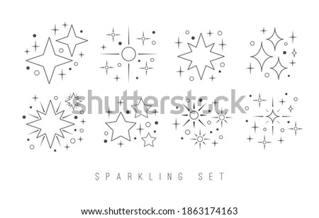 Linear twinkle Stars. Shine Sparkles. Various shapes. Minimalistic Icons. Elegant thin line simple geometric design. Party, celebration concept. Trendy Vector set. All elements are isolated on white Stock photo ©