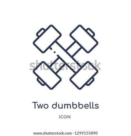 Linear two dumbbells icon from Measurement outline collection. Thin line two dumbbells icon isolated on white background. two dumbbells trendy illustration