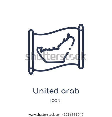 Linear united arab emirates map icon from Countrymaps outline collection. Thin line united arab emirates map icon vector isolated on white background. united arab emirates map trendy illustration