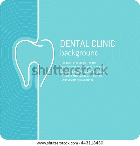 Linear vector background for dentistry. Poster dental clinic in blue color.