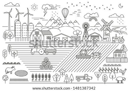 Linear vector illustration. Green farm. Fields, vegetable gardens, hangars, buildings, barns, agricultural machinery. Eco farm.