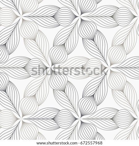 linear vector pattern, repeating abstract flower leaves, gray line of leaf or flower, floral. graphic clean design for fabric, event, wallpaper etc. pattern is on swatches panel.