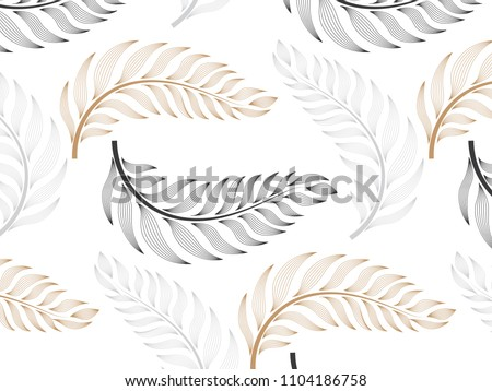 linear vector pattern, repeating abstract Geometry background, gray line of leaf or flower, floral. graphic clean design for fabric, wallpaper etc. pattern is on swatches panel.