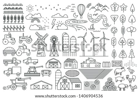 Linear vector set. Green farm. Fields, vegetable gardens, hangars, buildings, barns, agricultural machinery. Collection of linear icons. Eco farm.