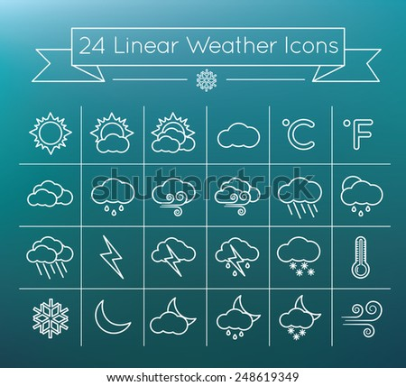 Linear  vector Weather icons set on blurry background