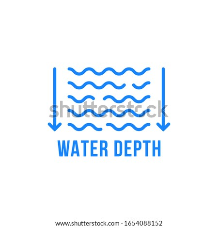 linear water depth icon with arrows. stroke flat style trend modern logotype graphic art design element isolated on white background. concept of icon for easy informing the depth of pool or lake Stock photo ©