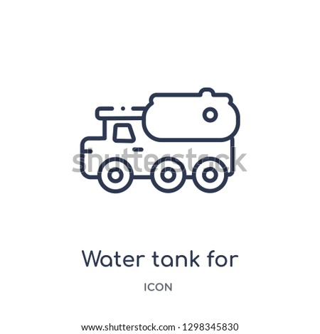 Linear water tank for vehicles icon from Mechanicons outline collection. Thin line water tank for vehicles icon isolated on white background. water tank for vehicles trendy illustration