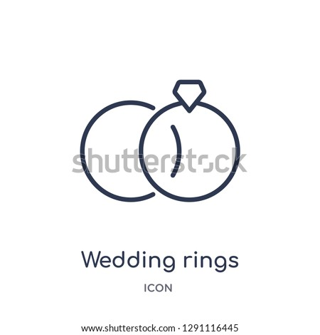 Linear wedding rings icon from Birthday party outline collection. Thin line wedding rings vector isolated on white background. wedding rings trendy illustration