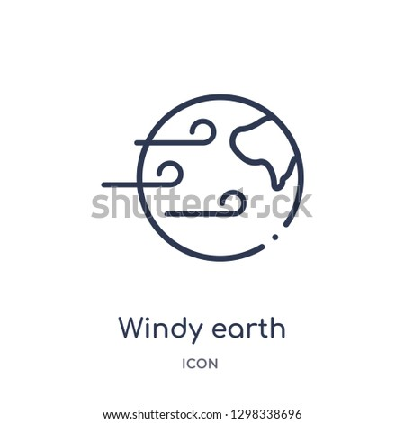 Linear windy earth icon from Meteorology outline collection. Thin line windy earth icon isolated on white background. windy earth trendy illustration