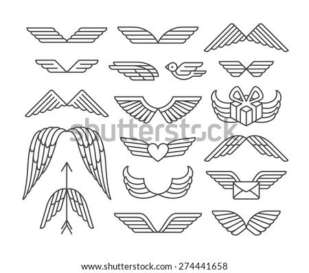 linear wings and icons'set
