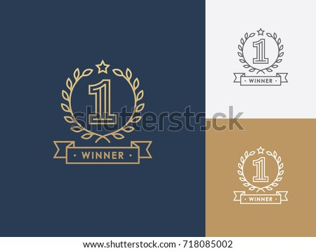 Linear winner emblem with number 1, wreath and ribbon. First place award. Victory, success symbol, logo.