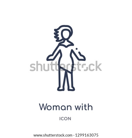 Linear woman with stylish hair icon from Ladies outline collection. Thin line woman with stylish hair icon isolated on white background. woman with stylish hair trendy illustration