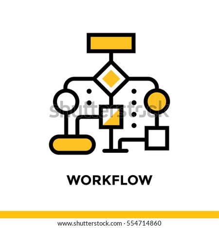 Linear workflow icon for startup business. Pictogram in outline style. Vector flat line icon suitable for mobile apps, websites and presentation