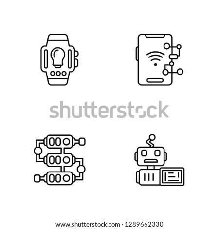 Linear Wristwatch, Algorithm, Algorithm, Code Vector Illustration Of 4 outline Icons. Editable Pack Of Wristwatch, Algorithm, Algorithm, Code