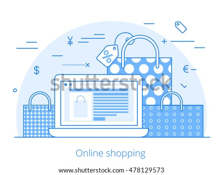 Lineart Flat online shopping website hero image vector illustration. E-commerce business, sale and consumerism concept. Laptop with cart interface on screen and bags on background.