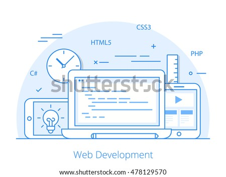 Lineart Flat responsive web development layout website hero image vector illustration. App programming technology and software concept. C#, PHP, HTML5, CSS3 technologies, laptop, tablet, smartphone.