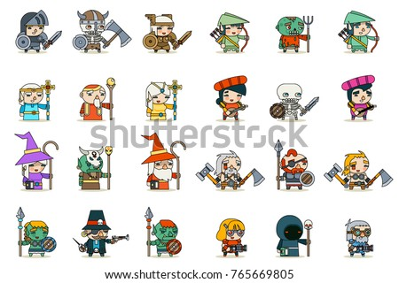 Lineart Male Female Fantasy Game RPG Character Vector Icons Set Vector Illustration