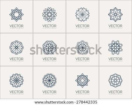 Lineart ornamental logo templates set. Vector geometric symbols