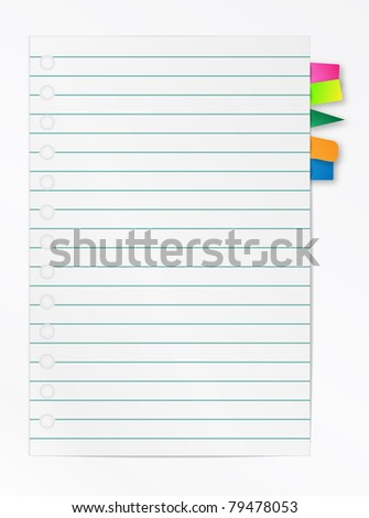 Lined notebook list with bookmarks