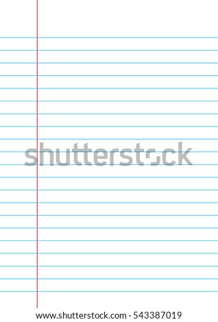 Lined paper from a notebook on white background.
