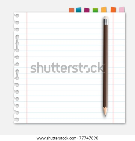 Lined paper pencil and reminder note