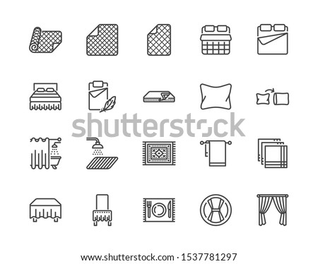 Linen flat line icons set. Bedroom textile blanket, bed mattress cover, pillow, pillowcase, handkerchief, towel vector illustrations. Outline signs interior store. Pixel perfect Editable Stroke.