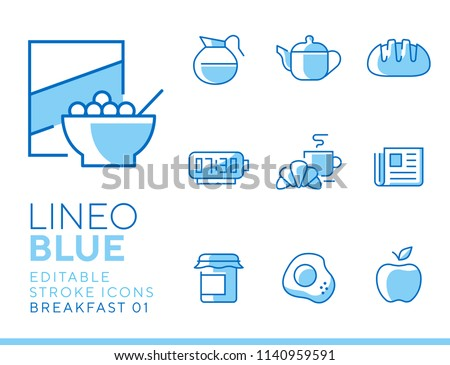 Lineo Blue - Breakfast and Morning line icons