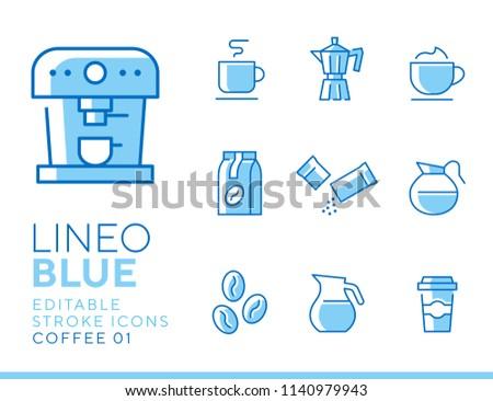 Lineo Blue - coffee line icons