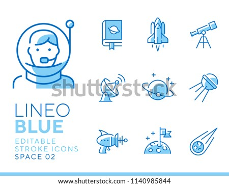 Lineo Blue - Space and Planets line icons