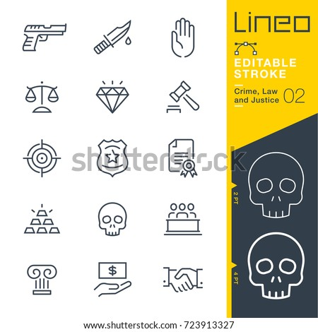 Lineo Editable Stroke - Crime, Law and Justice line icons Vector Icons