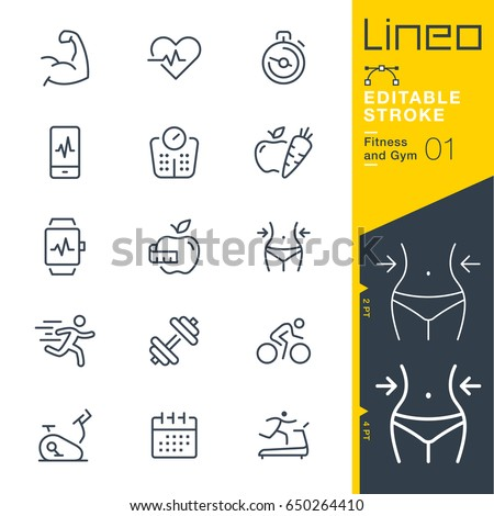 Lineo Editable Stroke - Fitness and Gym line icons Vector Icons - Adjust stroke weight - Expand to any size - Change to any colour
