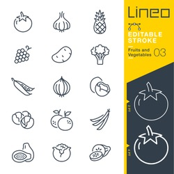 Lineo Editable Stroke - Fruits and Vegetables line icons Vector Icons - Adjust stroke weight - Expand to any size - Change to any colour