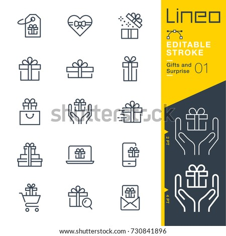 Lineo Editable Stroke - Gifts and Surprise line icons Vector Icons - Adjust stroke weight - Expand to any size - Change to any colour