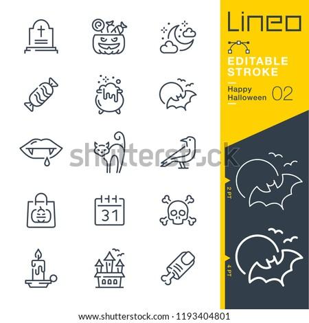 Lineo Editable Stroke - Happy Halloween line icons
