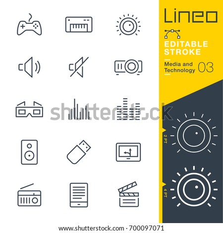 Lineo Editable Stroke - Media and Technology line icons Vector Icons - Adjust stroke weight - Expand to any size - Change to any colour