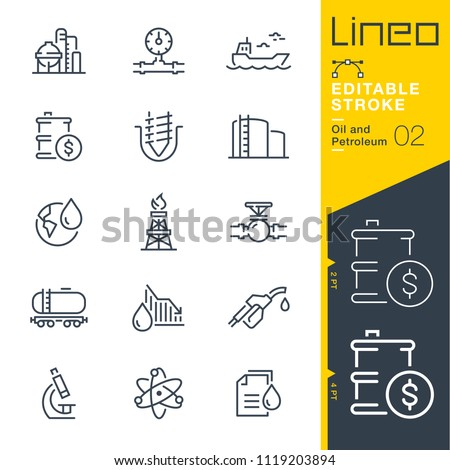 Lineo Editable Stroke - Oil and Petroleum line icons