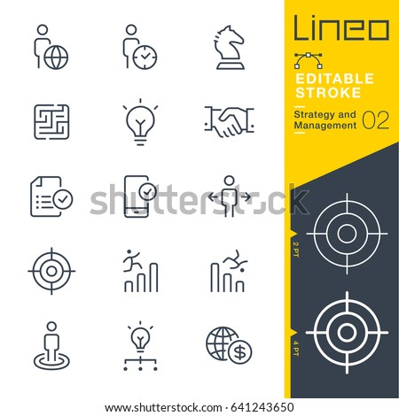 Lineo Editable Stroke - Strategy and Management outline icons Vector Icons - Adjust stroke weight - Expand to any size - Change to any colour