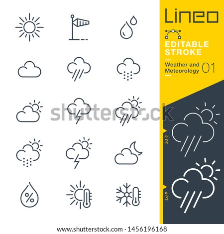 Lineo Editable Stroke - Weather and Meteorology line icons Foto stock ©