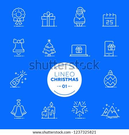 Lineo White - Christmas line icons (editable stroke)