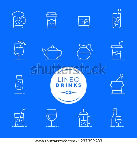Lineo White - Drink and Alcohol line icons (editable stroke)