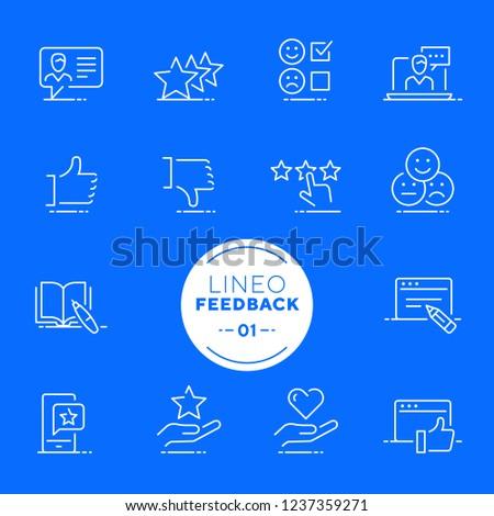 Lineo White - Feedback and Testimonials line icons (editable stroke)