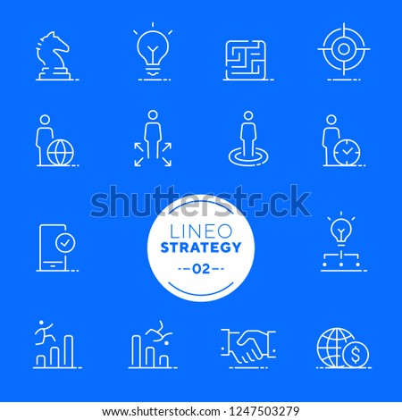 Lineo White - Strategy and Management line icons (editable stroke)
