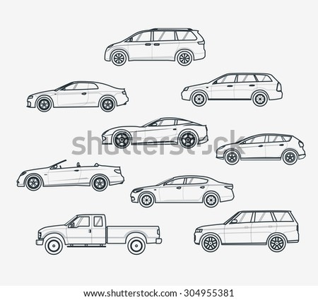 Saloon Car Type Liner Icons Set of Cars Types
