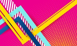 Lines abstract background, pink bright color. Vector abstract background texture design, bright poster, banner pink background, yellow and blue stripes and shapes.
